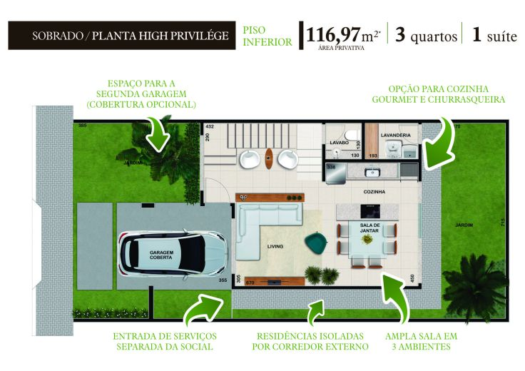Planta Sobrado High Privilege Piso Inferior