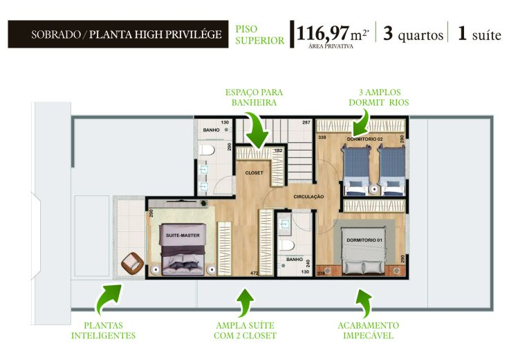 Planta Sobrado High Privilege Piso Superior